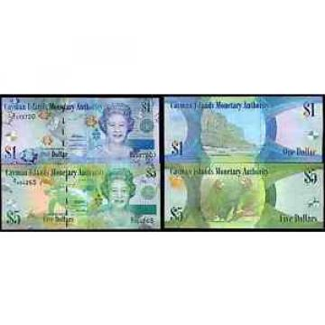 Cayman Islands. Two Notes, One Dollar, 2011, & Five Dollars, 2011.