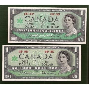 TWO 1867 1967 CANADA Canadian CENTENNIAL one 1 DOLLAR BILLS NOTES crisp UNC