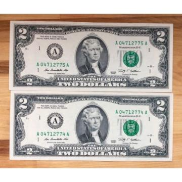Two of 2009 USA $2 Two Dollar Paper Money Bank Note - No Tax