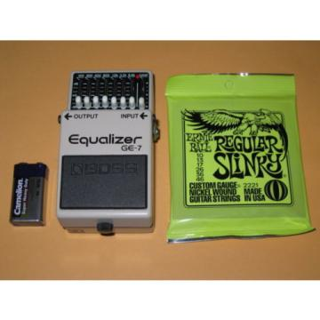 very lite use (near A+) BOSS GE7 Equalizer, 1995 Black Label, battery & strings