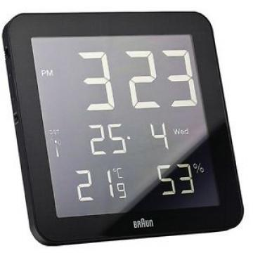 Braun BNC 014G RC Schwarz - LCD Funk Wanduhr mit Datum- und Temperaturanzeige