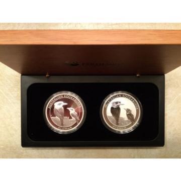 2017 Australia Kookaburra Two-Coin Set: 1 oz Silver Proof + 1 oz BU Bullion Coin