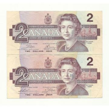 2 x 1986 CANADA TWO DOLLAR BANK NOTES