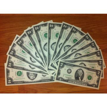 2 DOLLAR 10 sequentially numbered CRISP BILLS,TWO $ NOTES CURRENCY $2 MONEY ROW.