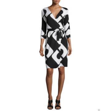 new Diane von Furstenberg NEW JULIAN TWO Wrap Silk Dress in CHAIN LINK HUGE