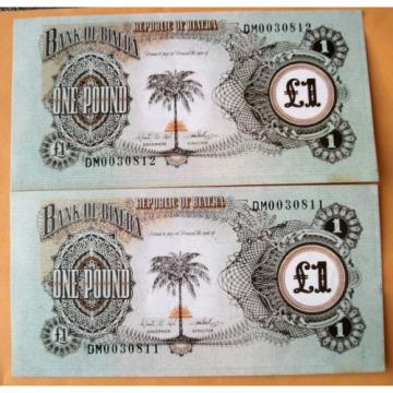 Two Uncirculated Consecutive One Pound Bank Of Biafra Notes