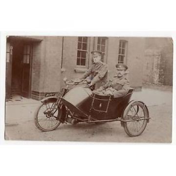 RPPC Motorcycle and Sidecar Ariel 1914 Two Soldiers Portsmouth Plate