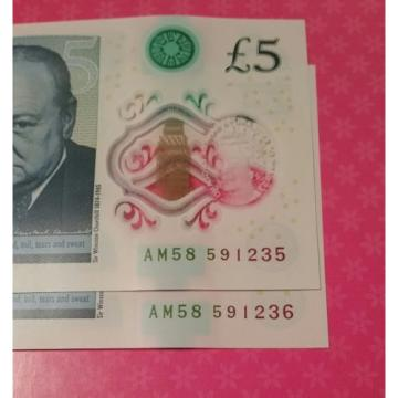 Two 2 x Polymer RARE NEW £5 Pound Notes - AM58  Series Consecutive Serial No UNC