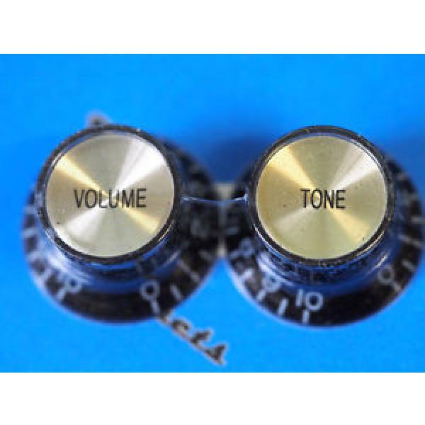 Bell knob set for Gibson - Black/Gold Cap #1 image