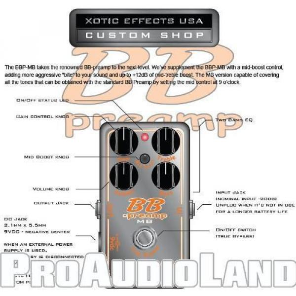 Xotic Custom Shop BB Preamp with Mid Boost Effects Pedal Free Shipping NEW #2 image