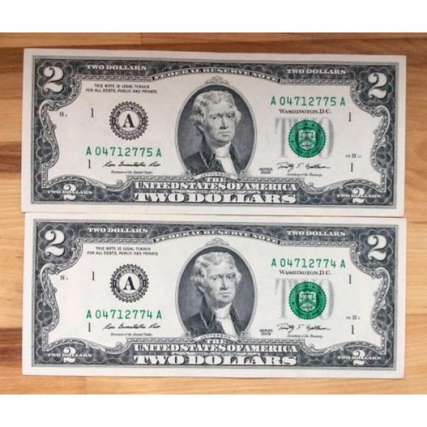 Two of 2009 USA $2 Two Dollar Paper Money Bank Note - No Tax #1 image