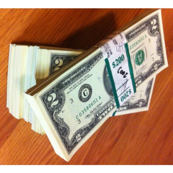 2 DOLLAR 10 sequentially numbered CRISP BILLS,TWO $ NOTES CURRENCY $2 MONEY ROW. #1 image
