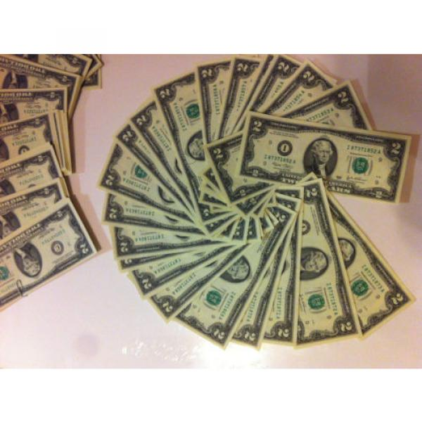 2 DOLLAR 10 sequentially numbered CRISP BILLS,TWO $ NOTES CURRENCY $2 MONEY ROW. #3 image