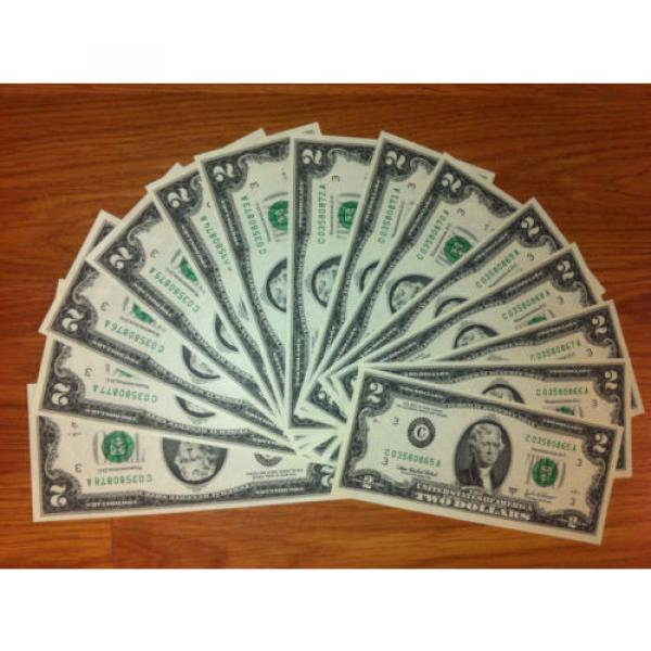 2 DOLLAR 10 sequentially numbered CRISP BILLS,TWO $ NOTES CURRENCY $2 MONEY ROW. #5 image